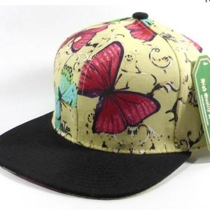Light Yellow Butterfly Flat Brim Hat NWT